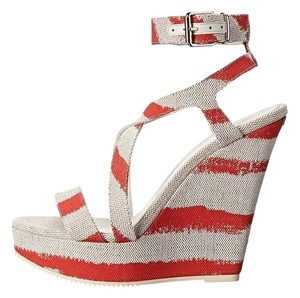 Burberry Coral Heel Farrah Wedges Red Sandals