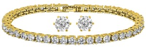 Giselle Bridals 10.00ctw Zirconia 14K Gold Plated Tennis Bracelet/Earrings Set
