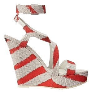 Burberry Wedges Brand Name Plaque Size 7.5-37.5 Coral Sale Clearance Red Sandals