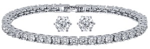 Giselle Bridals 10.00ctw ZirconiaRhodium Plated Tennis Bracelet/Earrings Set