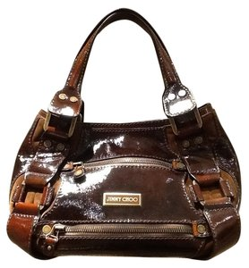 Jimmy Choo Liquid Patent Leather Suede Maddy Satchel in Cognac Brown