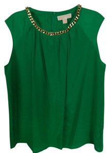 Michael Kors Spring Gold Chunky Chain Top Green