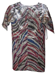 Diane von Furstenberg Silk Metallic Caftan Designer Dress