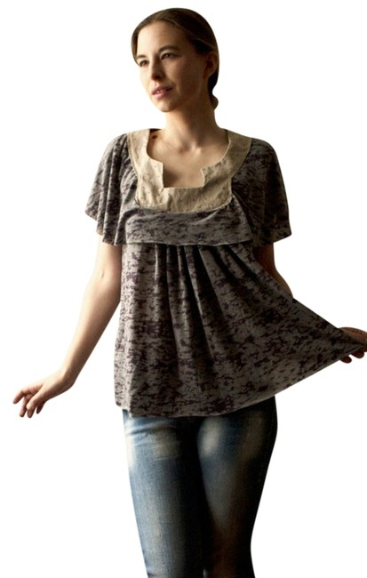 Unblenching Indie Label Private Label Princess Cut Peasant Goth Designer Designer Hippie Hippy Boho Hipster Fall Spring Summer Top Purple and gray