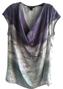 St. John Silk Multi Color Cowl Neck Top White and Purple