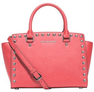 Michael Kors Saffiano Leather Studded Stud Satchel in Coral Pink