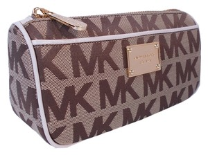 Michael Kors Michael Kors Jet Set Travel Cosmetic Pouch Case Beige Ebony Vanilla Signature
