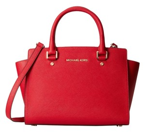 Michael Kors Selma Medium Top Zip Satchel in Red Chilli