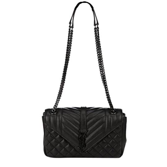79eab34d933 saint laurent medium monogram tri quilted calfskin chain black leather  shoulder bag. TRADESY