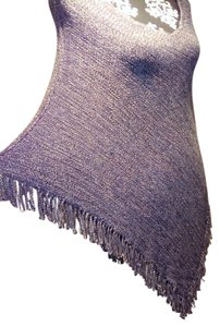Love Culture Shawl Gray Tassels Knit Crochet Cape