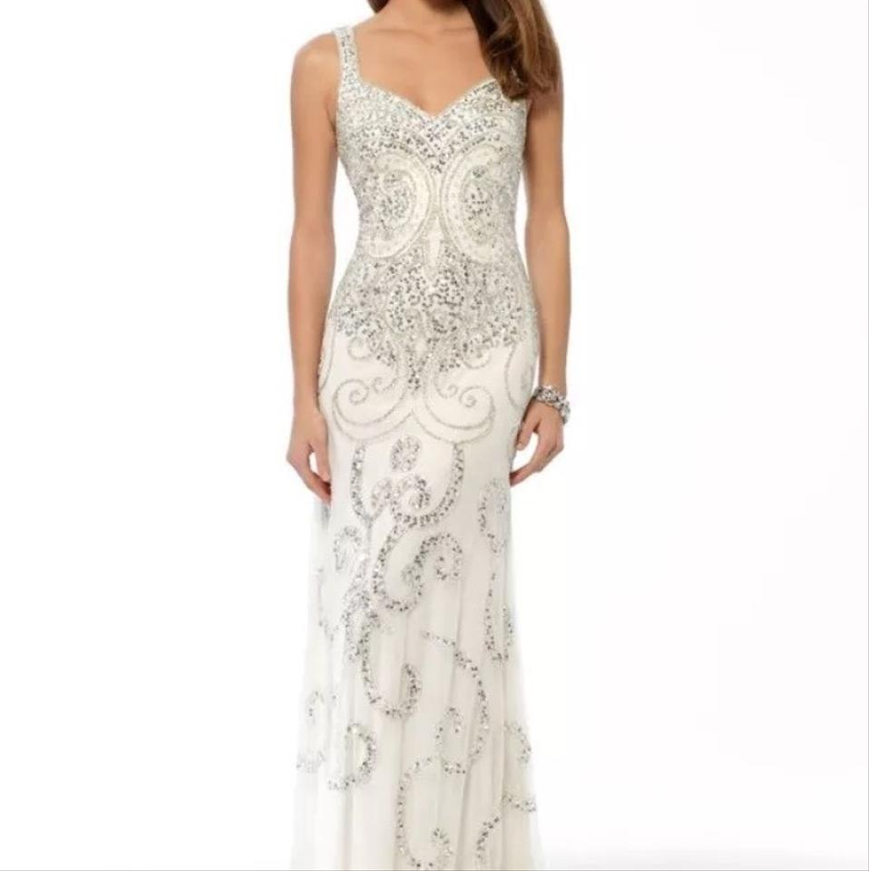 Cache White Embellished Beaded Gown Long Formal Dress Size 6 (S ...