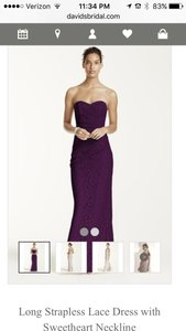 David's Bridal Plum Sweetheart Strapless Lace Floor-length Dress From David's Bridal Dress