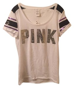 PINK T Shirt White and Purple
