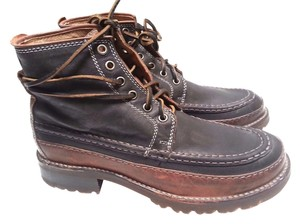 Frye Leather Upper Leather Lacing Black/Brown Boots