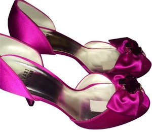 Stuart Weitzman Diamond Silver Hardware Satin Fuchsia Pink Formal