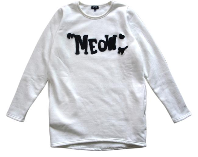 Off White Cat Lover Meow Sweatshirt Blouse Size 4 (S) Off White Cat Lover Meow Sweatshirt Blouse Size 4 (S) Image 1