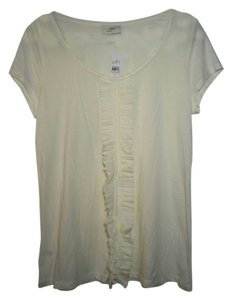 Ann Taylor LOFT Cream Scoop Neck Ruffle Casual Classic T Shirt White