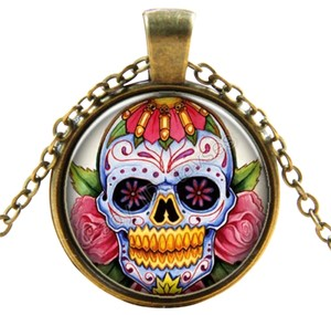 Other New Skull Roses Cabochon Necklace Pendant Antiqued Gold Pink J2224