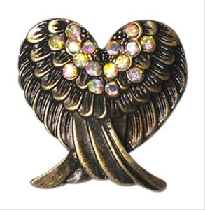 Angel Wings Adjustable Ring Large Chunky One Size Fits Most Antiqued Gold J2225