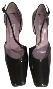 Bruno Magli Sparkle Crisscross Strap Black patent leather Pumps