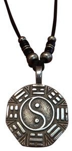 Yin Yang Compass Reversible Rustic Silver Plated Beads Tribal Rope Necklace Pendant