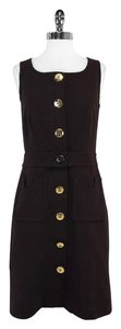 Tory Burch short dress Brown Sleeveless Gold Logo on Tradesy