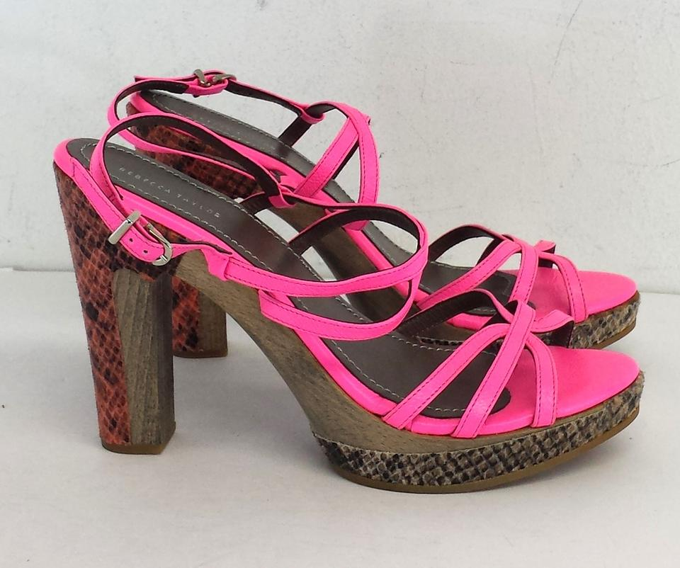 Rebecca Taylor Hot Pink Strappy Heels Sandals Size US 7.5 - Tradesy