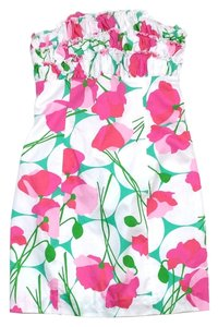 Lilly Pulitzer short dress White Pink Green Floral on Tradesy