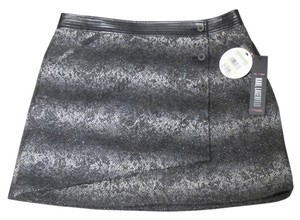 Karl Lagerfeld Mini Skirt Black/Gray Metallic Tweed