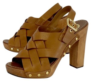 Tory Burch Brown Leather Heels Sandals
