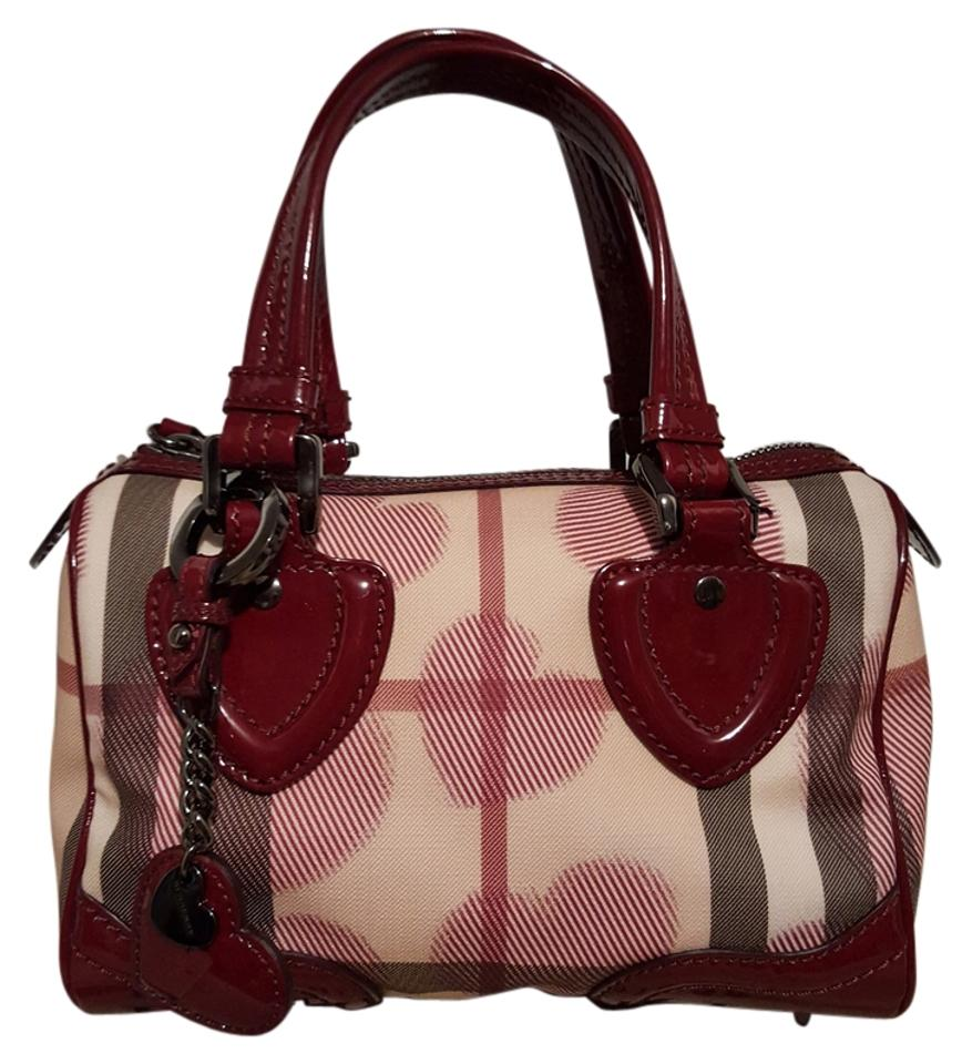 52661b17f161 Burberry Supernova Check Heart Chester Bowling Handbag Khaki Ruby Red  Canvas Leather Patent Leather Satchel