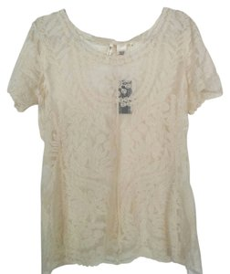 Miss Pinky Cream Lace Top White
