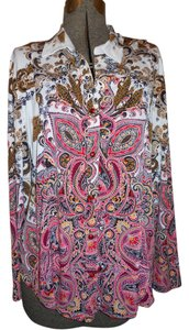 JM Collection Knit Snap Top white, brown,red, pink multi print