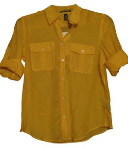 Ralph Lauren Silk Bright Flowy Button Down Shirt Yellow