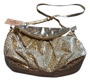 Juicy Couture Handbag Stylish Different Satchel in gold & beige leopard