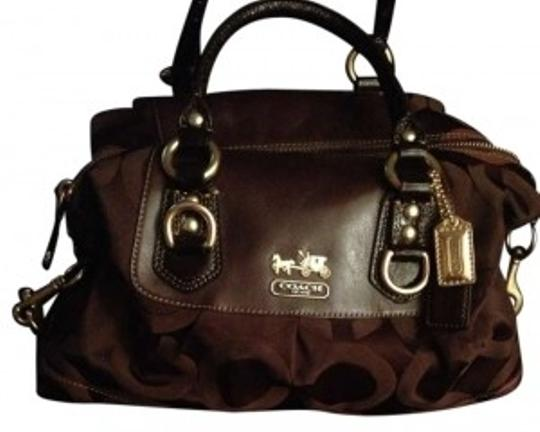 Preload https://item2.tradesy.com/images/coach-madison-signature-sabrina-dark-brown-canvas-and-leather-satchel-130886-0-0.jpg?width=440&height=440