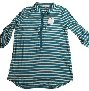 Calvin Klein Gold Hardware Striped Oversized Bright Top Blue, White