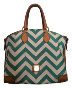 Dooney & Bourke Satchel in Mint Green and white