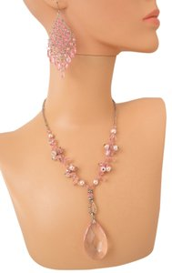 Other CLEAR BEAD LAYERED CHAIN EARRING and Necklace Set/Pink