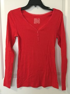 Gilligan & O'Malley V-neck Lace Sleep Cotton T-shirt T Shirt Red