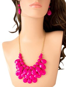 Other TRENDY TEARDROP MULTI LAYER NECKLACE AND EARRING SET/PINK