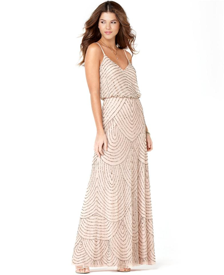 Adrianna Papell Taupe/Pink Art Deco Beaded Blouson Gown Feminine  Bridesmaid/Mob Dress Size Petite 4 (S) 38% off retail