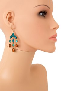 THREE STRAND FACETED HOMAICA STONE EARRINGS/ Teal