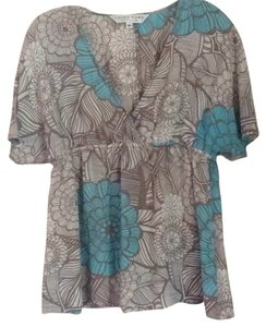 Trina Turk Top Light turquoise taupe multi