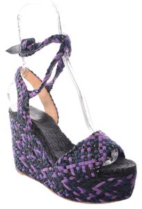Herms Woven Suede Leather Equator Purple, Navy & Black Wedges