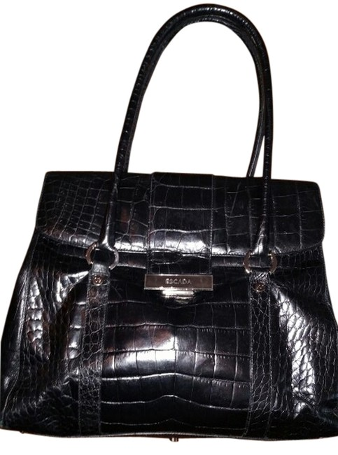 Item - Black Leather with Silver Hardware Tote