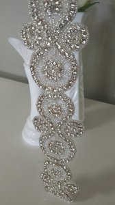 Sheer Beaded Rhinestone Sash Belt