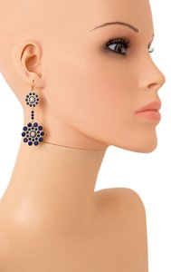 BEST QUALITY FLORAL LUCITE STONE EARRINGS/BLUE