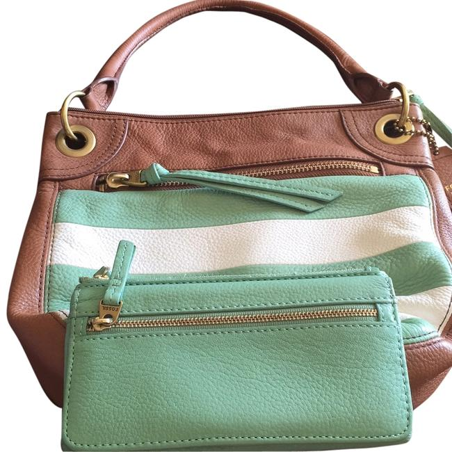 Item - Purse and Matching Wallet Set - And Tan & Mint Green Leather Hobo Bag