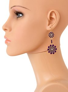 Other BEST QUALITY FLORAL LUCITE STONE EARRINGS/Purple